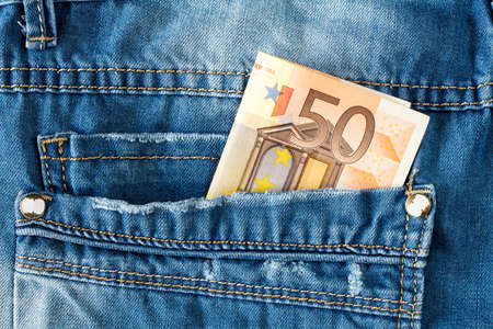 Brand new fifty euro in jeans pocket