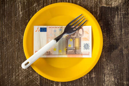 capita: High price of food concept with plate,fifty euro and fork
