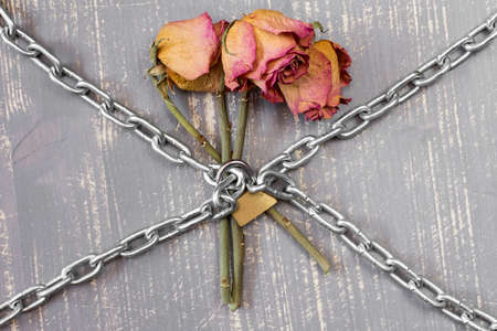 symbolize: Three old chained roses symbolize endless love Stock Photo