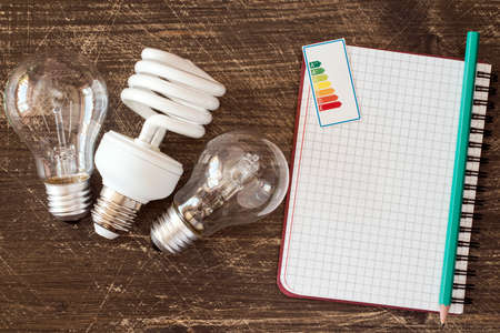 labelling: Three different light bulbs and notebook with energy efficiency label