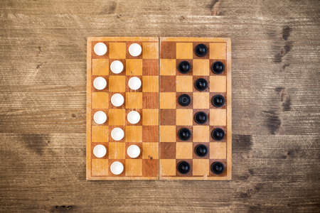 draughts: Top view of draughts checkers board game