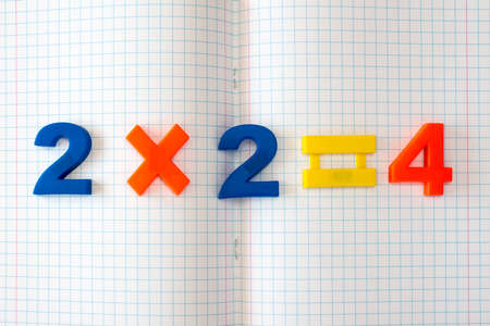 Simple math formula on open squared exercise book