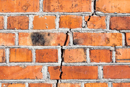 The crack in the brick wall. Image can be used as a background.
