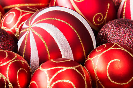 Close up of red Christmas glass baubles