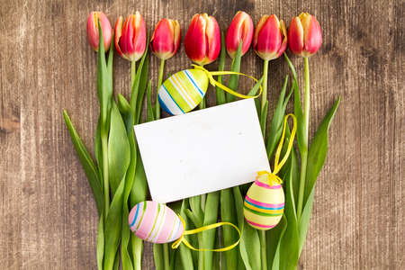 pascuas navideÑas: Easter decoration and blank card for holiday greetings