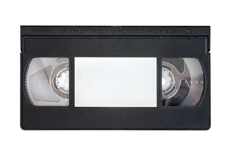 videocassette: VHS video tape cassette isolated on white background. Stock Photo