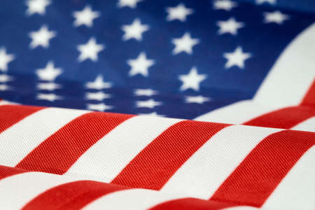USA flag, close-up. Studio shot with shallow DOF.