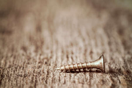 Macro shot of one screw on a wooden background Stock Photo