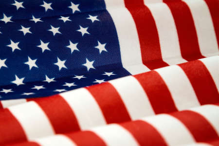 USA flag, close-up. Studio shot with selective focus.