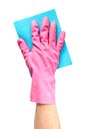 microfiber: Hand cleaning with blue microfiber cloth on a white background