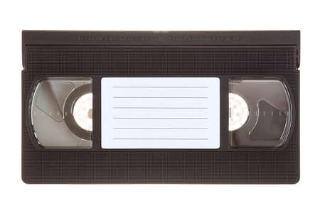 Video tape cassette with copy-space, isolated on white background.