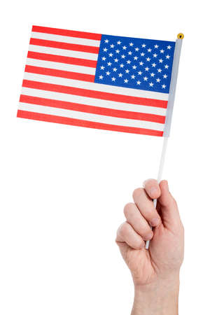 Hand holding american flag,isolated on white background Stock Photo