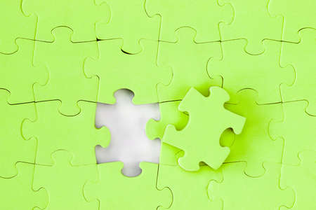 Jigsaw puzzle with the missing piece, solution concept Stock Photo