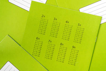 Multiplication table on green exercise book cover