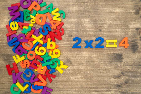 Simple mathematic multiplication on a wooden background
