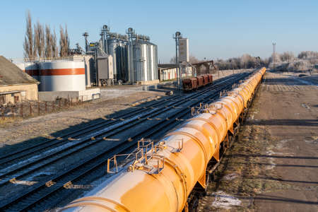 Oil or gas transportation in the railroad tank on the station