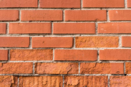 Close up view of of old red brick wall. Can be used as background. Stock Photo