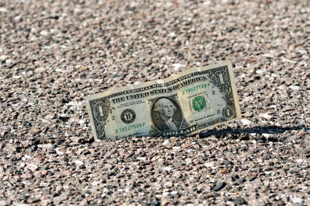 One dollar bill in the pavement crack