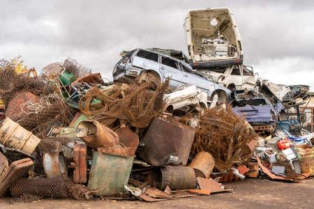 Scrap metal dump waiting for recycling