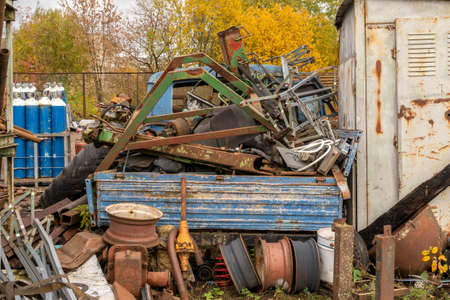 Massive pile of scrap metal stored for recycling