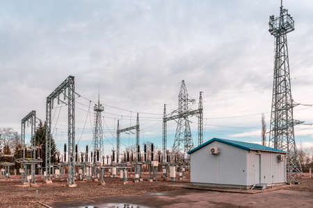 High voltage transformers and electric converters equipment in switchyard.