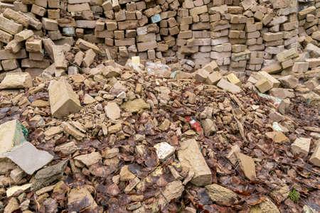 Pieces of concrete and brick rubble debris on construction site