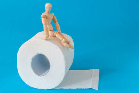 Wooden figure sit on a roll of toilet paper. Concept of the problem with digestion.