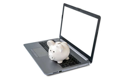 Piggy bank with laptop which means make money online or internet business concepts. Blank screen, copy space.