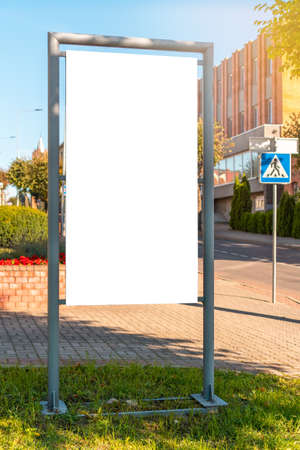 Large blank billboard on a street wall, banners with room to add your own text Stock Photo