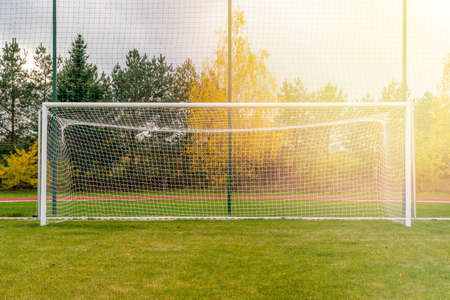 Football goals on countryside field. Gate on a soccer field.