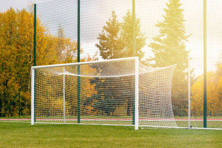 Gate on a soccer field. Football goals on countryside field. Zdjęcie Seryjne