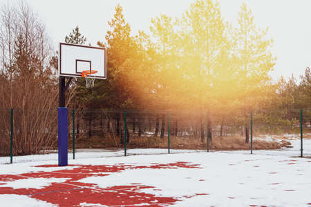Basketball court found in the outdoors during winter season