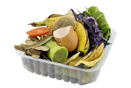 reusing: Fruit and vegetable household kitchen food waste, collected in re-used packaging, for composting.