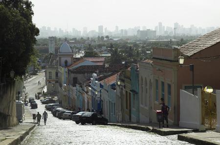 Olinda street scene and Recife skyline, Pernambuco, Brazil, South America. Editorial