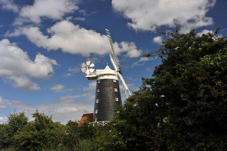 Windmill at Burnham Overy Staithe on the North Norfolk coast, Norfolk, UK.