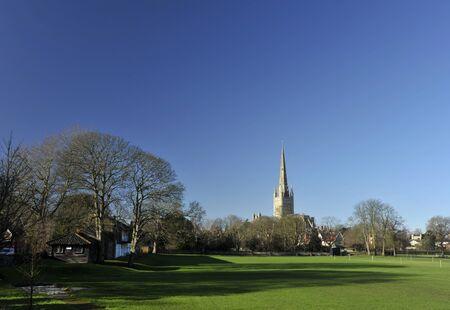 Norwich cathedral on the city skyline, Norwich, Norfolk, UK. Stock Photo