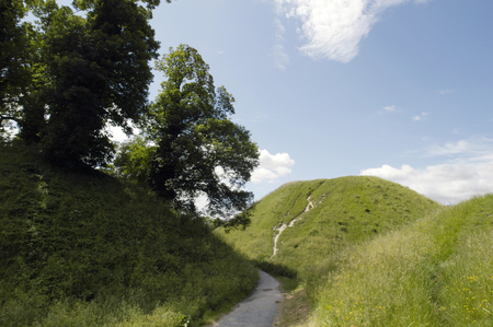 Castle Hill a medieval motte constructed within reinforced iron age ramparts of a hill fort.