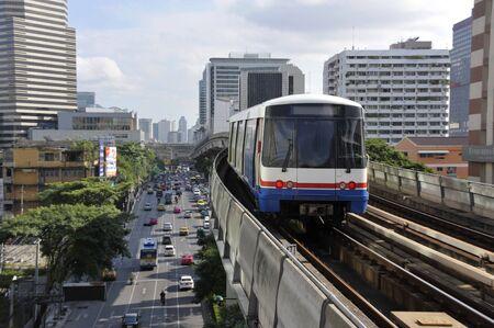 BTS Skytrain and road traffic at Ratchathewi in the city, Bangkok, Thailand.