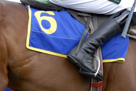 stirrup: Jockeys boot in the stirrup on a racehorse. Editorial