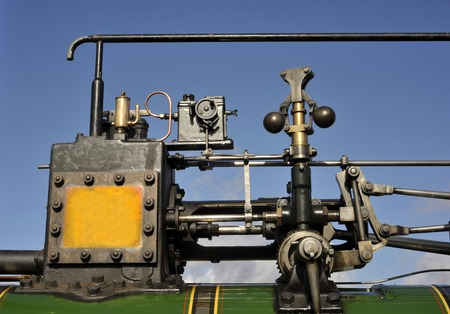 steam traction: Victorian steam traction engine cylinder, governor, oiler and motion. Stock Photo