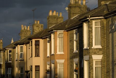 Victorian terraced houses at dusk, Great Yarmouth, Norfolk, UK.