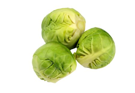 Trio of fresh raw uncooked brussels sprouts, brassica oleracea, isolated on white.