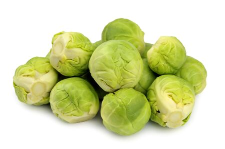 Fresh raw uncooked brussels sprouts, brassica oleracea.