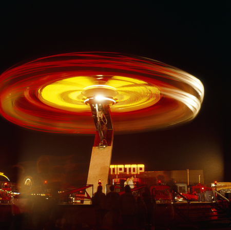 nightime: Kingston upon Hull fair at night with fairground ride movement, Hull, East Riding of Yorkshire, UK. Editorial