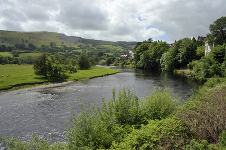 The River Dee winding through the village of Carrog in the Dee Valley,  Denbighshire, Wales, UK.
