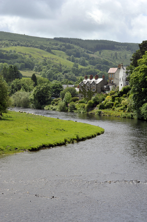 The Dee Valley and River Dee in the village of Carrog, Denbighshire, Wales, UK. Stok Fotoğraf