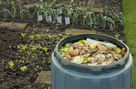 Garden compost bin for recycling kitchen food and garden waste including fruit and vegetable peelings, tea bags and egg shells.