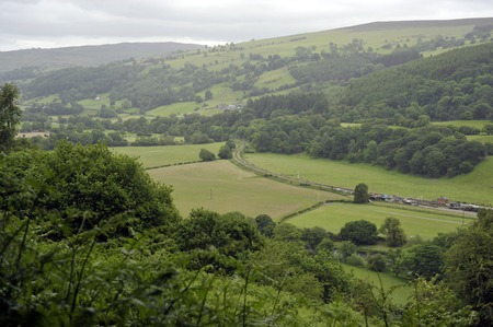 The Dee Valley landscape with the Llangollen rialway near Carrog, Denbighshire, Wales, UK.