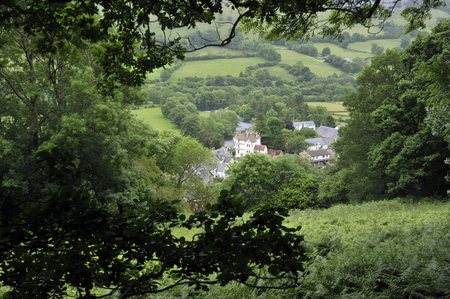Village of Carrog in the Dee Valley, landscape with River Dee, Denbighshire, Wales, UK.