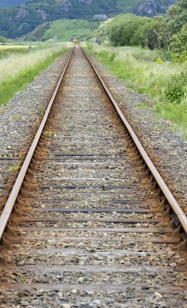 Rural railway line tracks in countryside at Talsarnau, Gwynedd in North Wales UK. Stock Photo